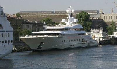 The yacht of Russian billionaire Roman Abramovich in St Petersburg