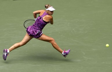 Anna Blinkova of Russia reaches to return a ball at the US Open