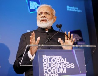 India Prime Minister Narendra Modi speaks at the Bloomberg Global Business Forum in New York
