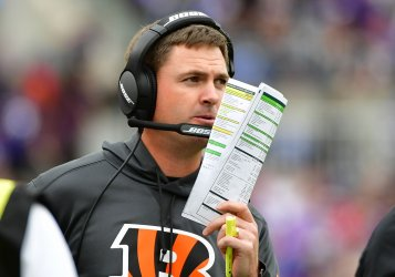 Bengals' coach Zac Taylor during NFL game in Baltimore