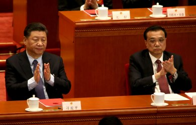 Xi and Li appluad during the NPC in Beijing, China