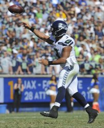 Seattle Seahawks quarterback Russell Wilson makes a pass in Los Angeles, California