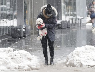 Winter Snow Storm Nor'easter Aftermath in New York