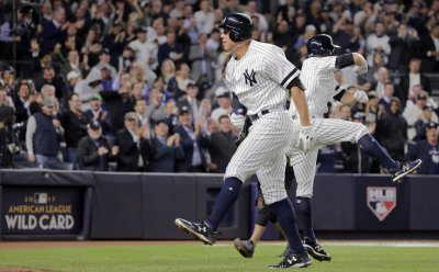 New York Yankees Aaron Judge hits two-run home run against Minnesota Twins in American League Wild Card Game