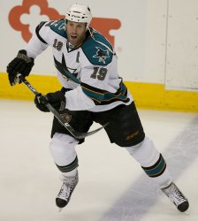 Sharks Thornton Warms Up in Game Three in Denver