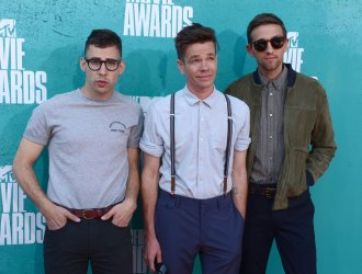 Jack Antonoff, Nate Ruess and Andrew Dost arrive at the 2012 MTV Movie Awards in Universal City, California