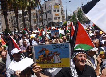 Palestinians Protest Against The Bahrain Conference In Ramallah