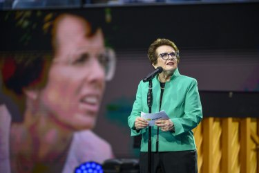 Billie Jean King gives remarks at the US Open