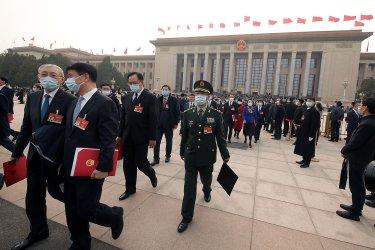 Delegates Leave the NPC in Beijing, China