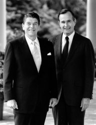 PRESIDENT RONALD REAGAN AND VICE PRESIDENT GEORGE BUSH