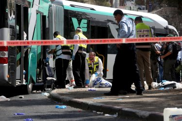 Israeli ZAKA Workers Clean At Terror Attack Site In Jerusalem