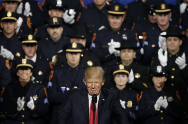 President Trump speaks to NYPD members in New York