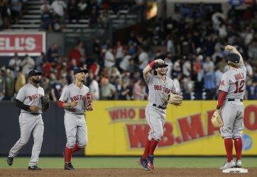 Boston Red Sox Brock Holt and Andrew Benintendi