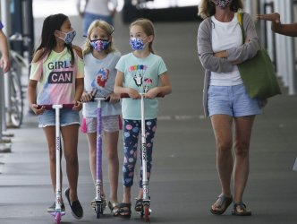 Children Wear Masks To Guard Against Coronavirus in New York