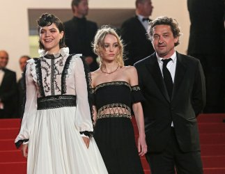 Soko, Lily-Rose Depp, and Louis-Do de Lencquesaing attend the Cannes Film Festival