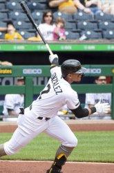Pittsburgh Pirates Erik Gonzalez Singles Against Giants