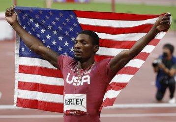 USA's Kerley wins Silver in the Men's 100m final in Tokyo, Japan