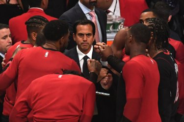 Heat Head Coach Erik Spoelstra speaks to the team prior to game against the Lakers