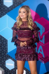 Laura Whitmore arrives at the MTV Europe Music Awards in Rotterdam