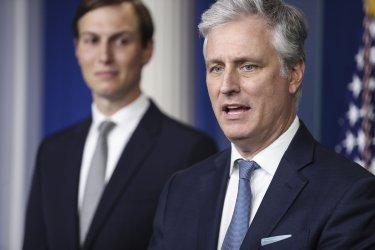 Robert O'Brien and Jared Kushner speak at the White House