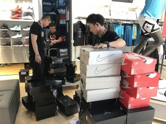 Nike shoes are delivered to a NBA store in Beijing, China