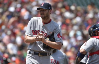 Red Sox pitcher Chris Sale reacts after giving up two runs to Orioles in 1st inning