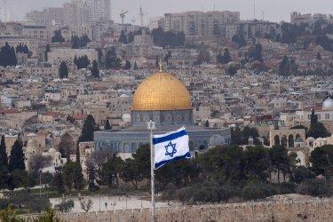 An Israeli Flag Flies On The Mt. Of Olives