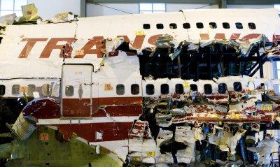 TWA Flight 800 resassembled wreckage in Ashburn, Virginia