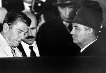 President Reagan and Mikhail Gorbachev During Reykjavik Summit