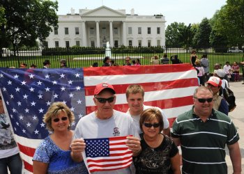 Tourists and Demonstrators Mingle in Front of the White House