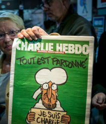 Charlie Hebdo at newsstand near Toulouse