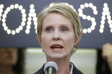 Candidate for governor Cynthia Nixon speaks at Subway Station