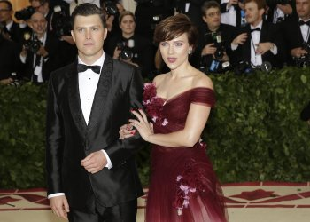 Scarlett Johansson and Colin Jost at the Met Gala in New York