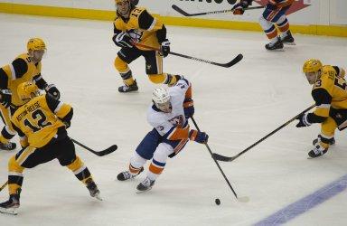 Islanders Mathew Barzal Skates Between Five Pens