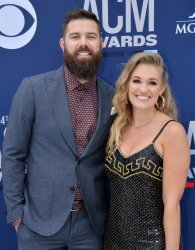 Jordan Davis and Kristen O'Connor attend the Academy of Country Music Awards in Las Vegas