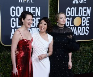 Phoebe Waller-Bridge, Sandra Oh, and Jodie Comer attend Golden Globe Awards