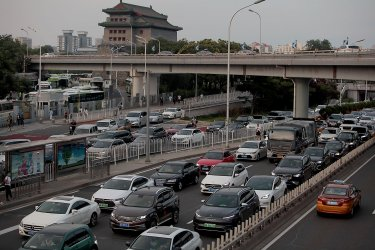 Heavy Traffic Moves Through Beijing, China