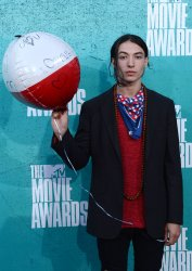 Ezra Miller arrives at the 2012 MTV Movie Awards in Universal City, California