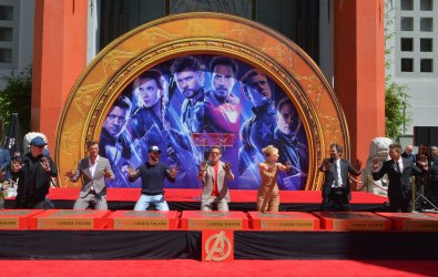 """""""Avengers"""" cast immortalized in forecourt of TCL Chinese Theatre in L.A."""