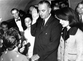 Lyndon Baines Johnson is sworn is as president after Kennedy assassination