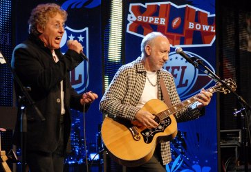 Pete Townshend and Roger Daltrey of The Who at Super Bowl XLIV