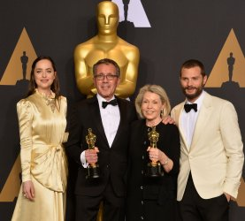 David Wasco and Sandy Reynolds-Wasco appear backstage with their Oscars at the 89th annual Academy Awards in Hollywood