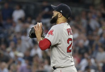 Boston Red Sox starting pitcher David Price reacts