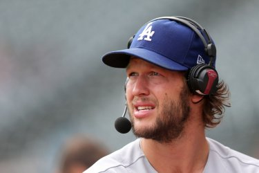 Dodgers Kershaw does a interview prior to game against Indians