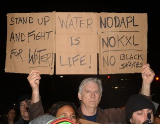 Protesters gather to rally against Trump's support of Dakota Access and Keystone pipelines