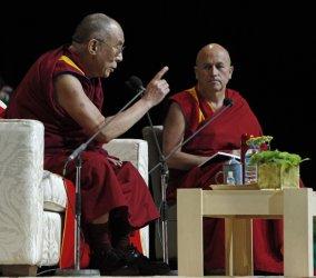 Dalai Lama gives a conference in Paris