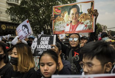 People Demonstrate Against Last Week's Military Coup in Myanmar