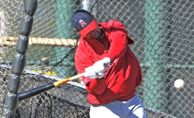 Albert Pujols takes batting practice in Arizona