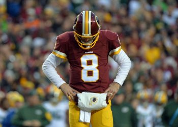 Redskins quarterback Kirk Cousins reacts