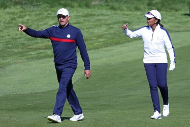 Kelly Slater and Condoleezza Rice play celebrity tournament at the Ryder Cup 2018
